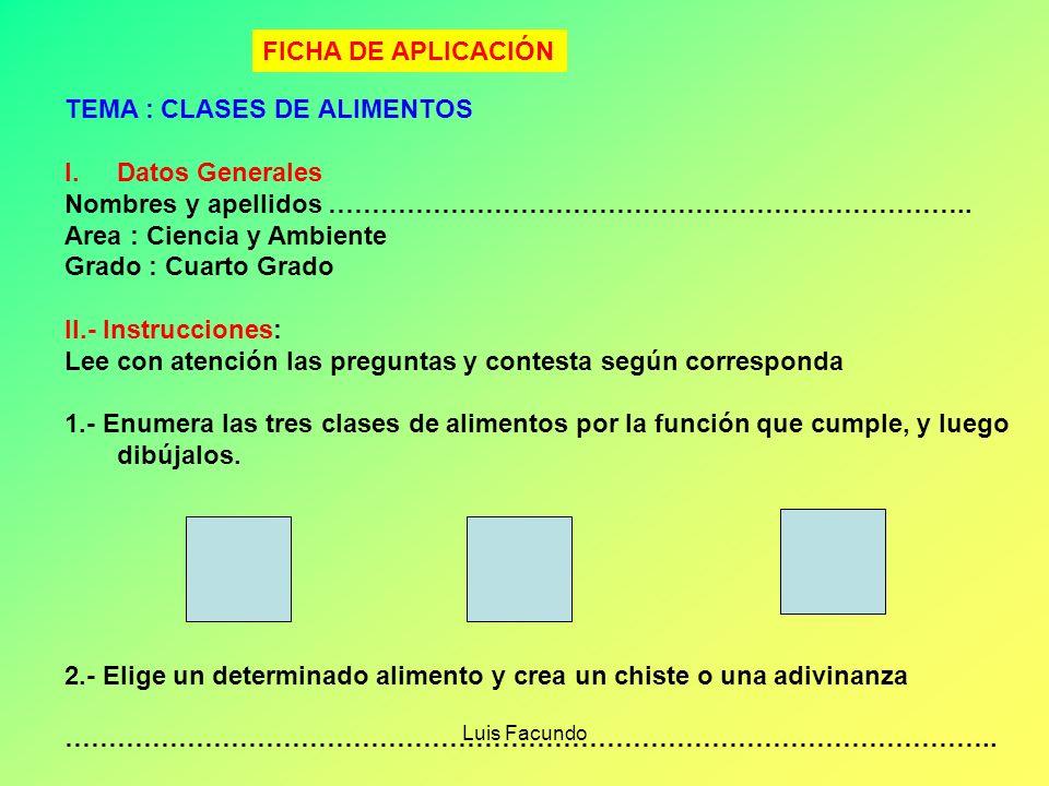 TEMA : CLASES DE ALIMENTOS Datos Generales