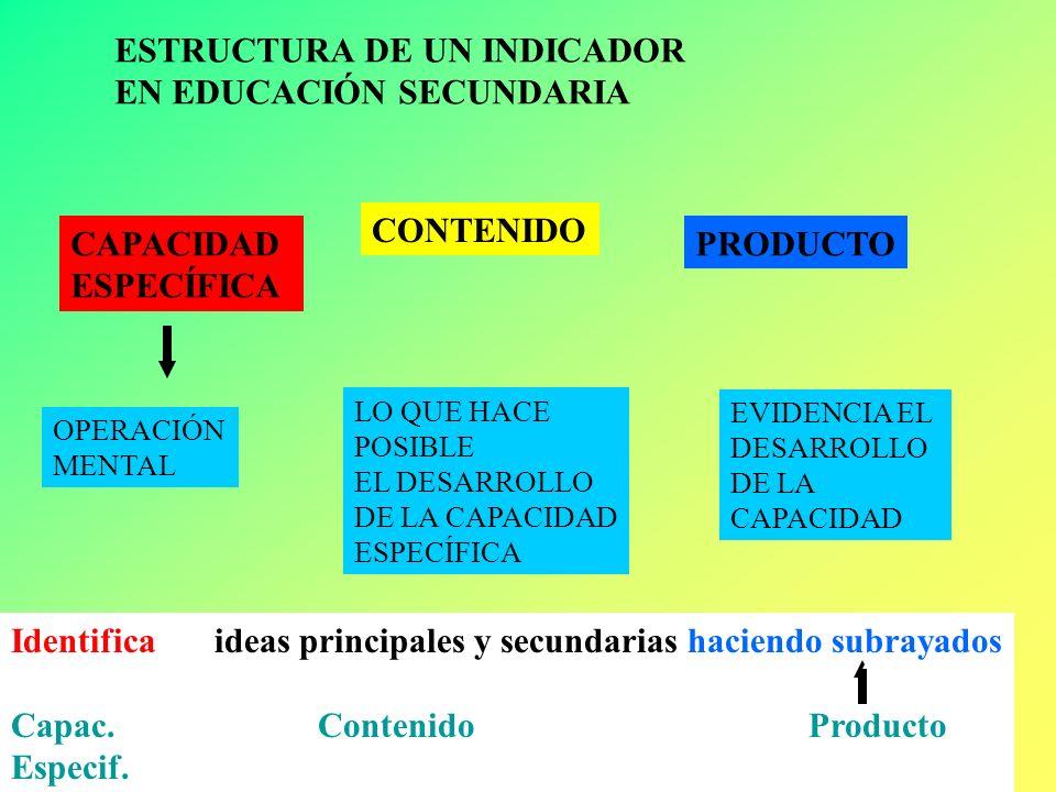 ESTRUCTURA DE UN INDICADOR EN EDUCACIÓN SECUNDARIA