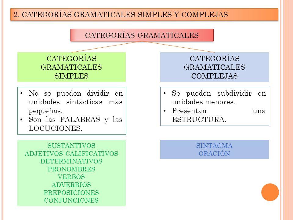 2. CATEGORÍAS GRAMATICALES SIMPLES Y COMPLEJAS