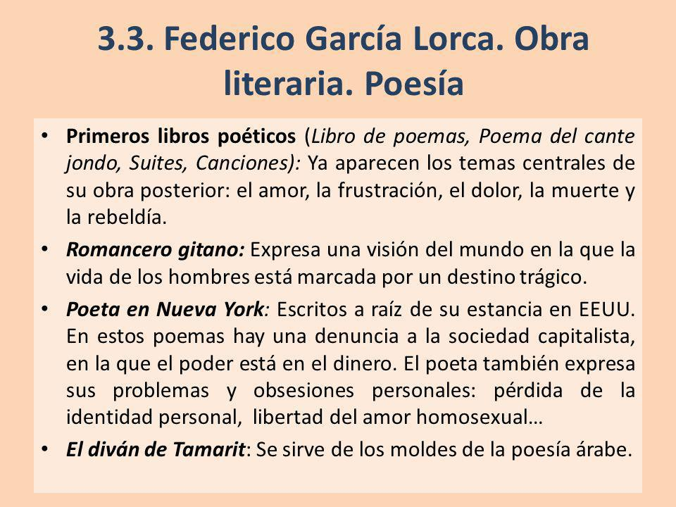3.3. Federico García Lorca. Obra literaria. Poesía