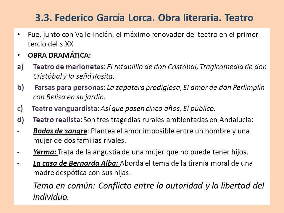 3.3. Federico García Lorca. Obra literaria. Teatro