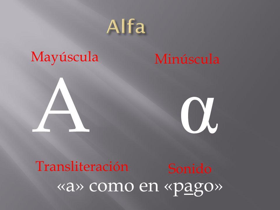 Alfa Mayúscula Minúscula α A Transliteración Sonido «a» como en «pago»