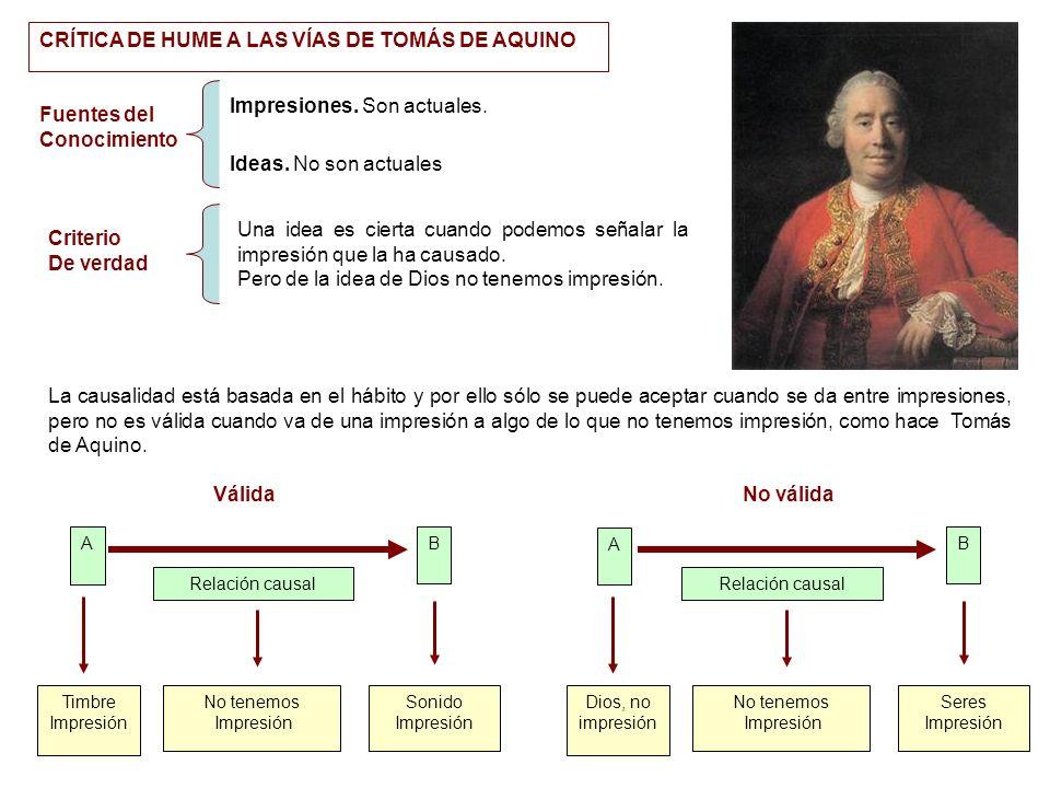 CRÍTICA DE HUME A LAS VÍAS DE TOMÁS DE AQUINO