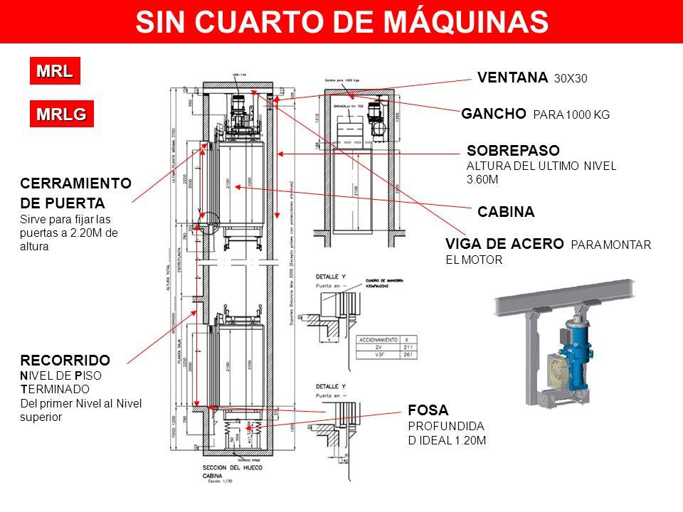 SIN CUARTO DE MÁQUINAS MRL MRLG VENTANA 30X30 GANCHO PARA 1000 KG