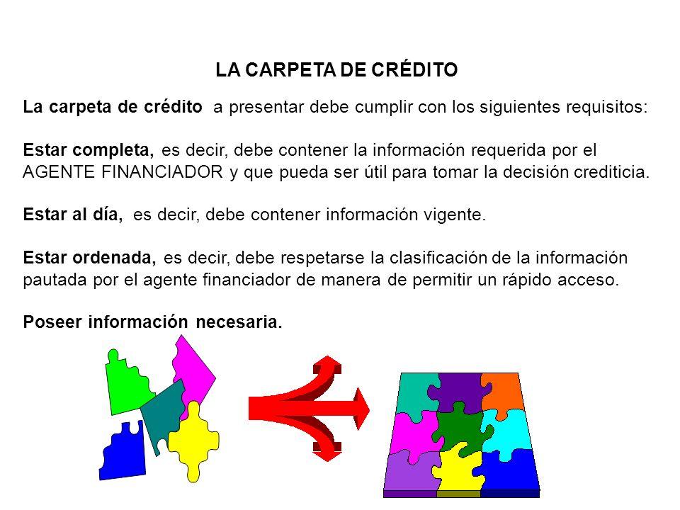 LA CARPETA DE CRÉDITO La carpeta de crédito a presentar debe cumplir con los siguientes requisitos: