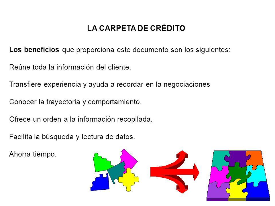 LA CARPETA DE CRÉDITO Los beneficios que proporciona este documento son los siguientes: Reúne toda la información del cliente.