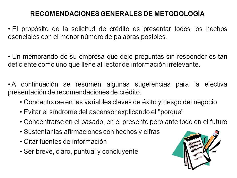 RECOMENDACIONES GENERALES DE METODOLOGÍA