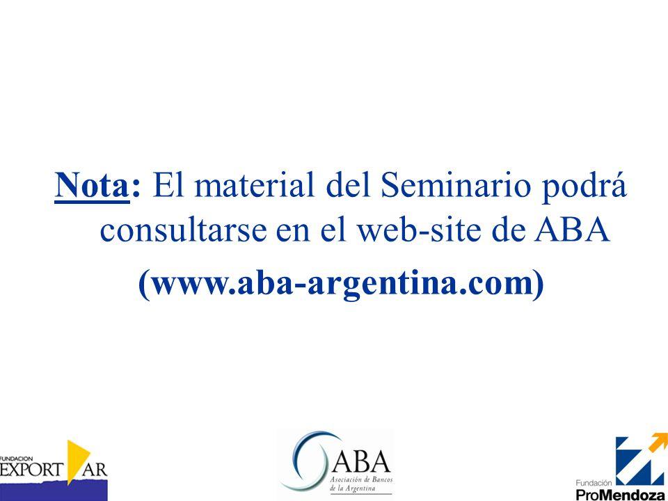 Nota: El material del Seminario podrá consultarse en el web-site de ABA