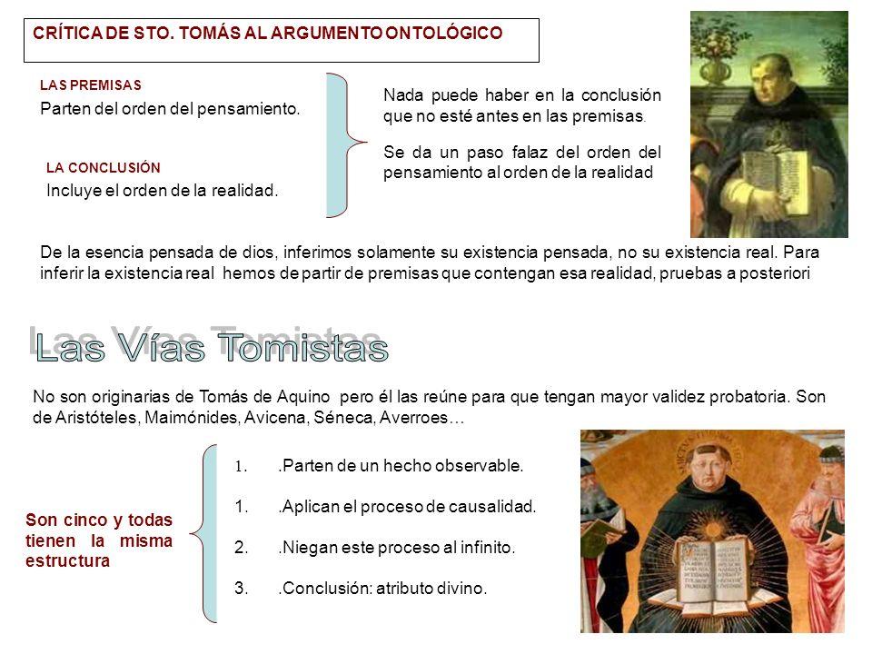 Las Vías Tomistas CRÍTICA DE STO. TOMÁS AL ARGUMENTO ONTOLÓGICO
