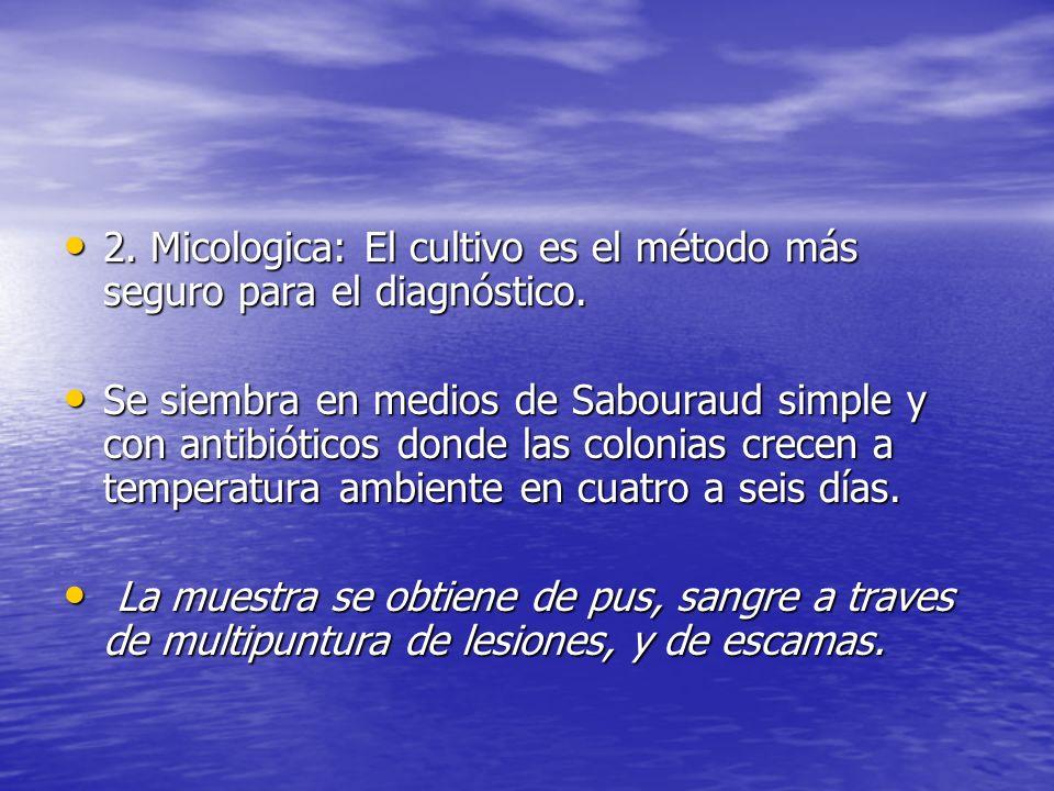 2. Micologica: El cultivo es el método más seguro para el diagnóstico.