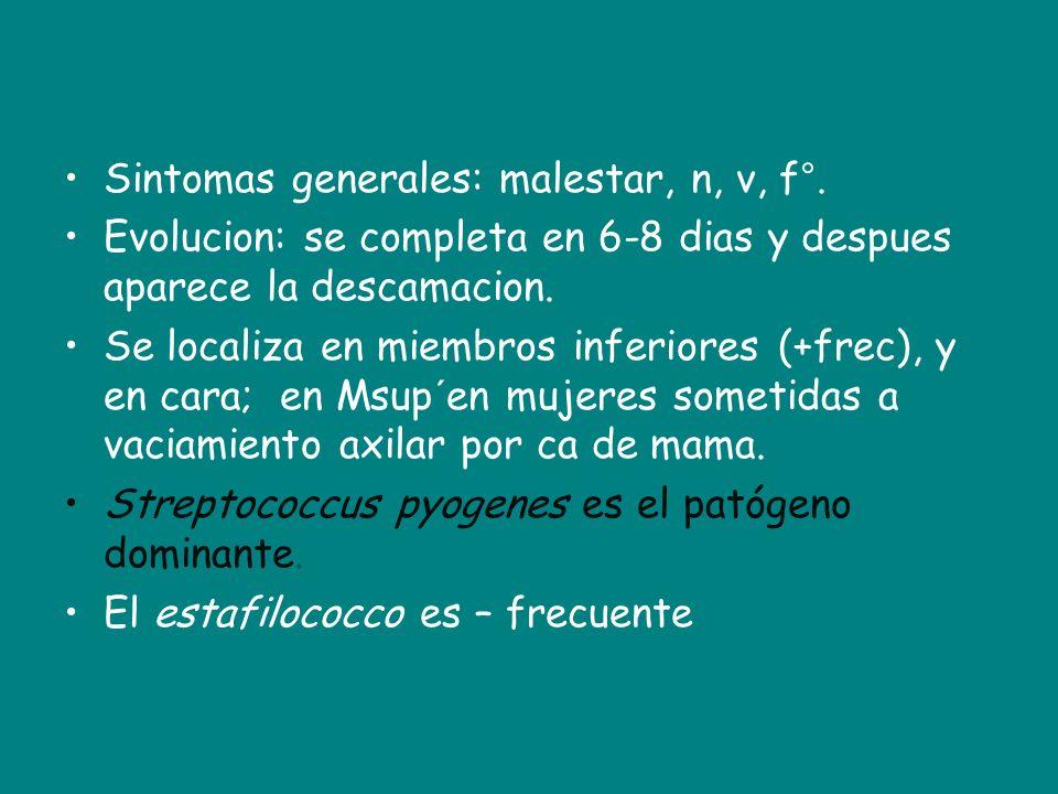 Sintomas generales: malestar, n, v, f°.