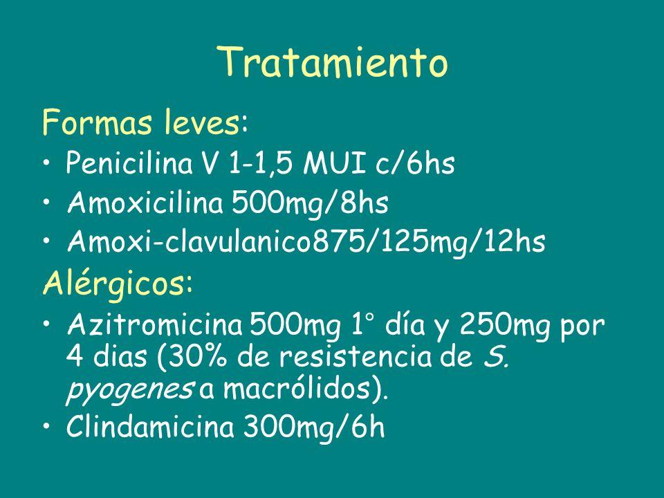 Tratamiento Formas leves: Alérgicos: Penicilina V 1-1,5 MUI c/6hs
