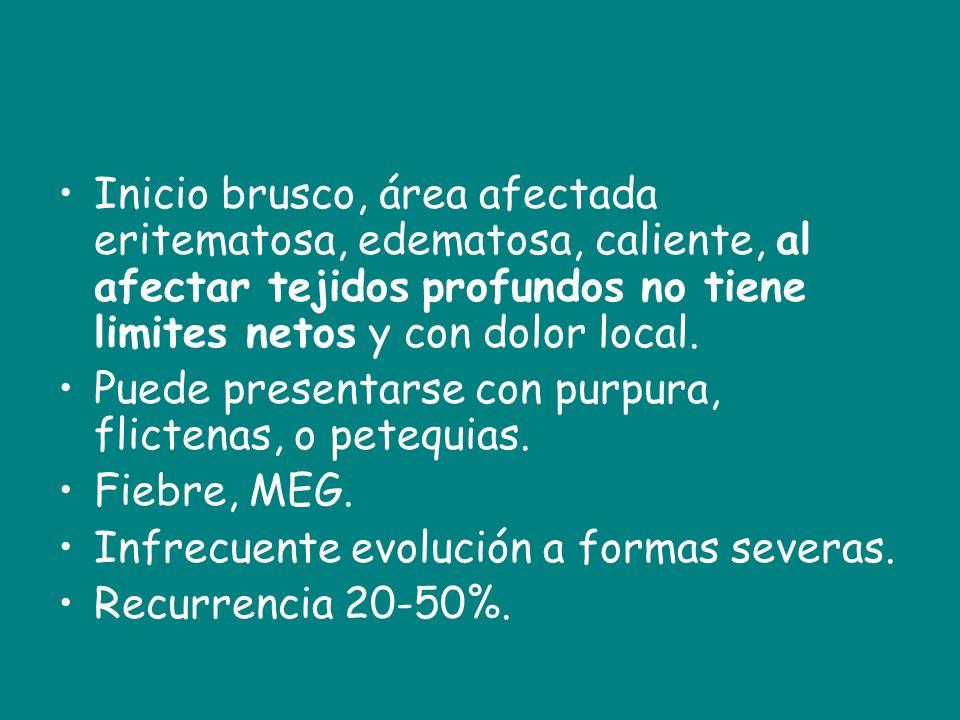 Inicio brusco, área afectada eritematosa, edematosa, caliente, al afectar tejidos profundos no tiene limites netos y con dolor local.
