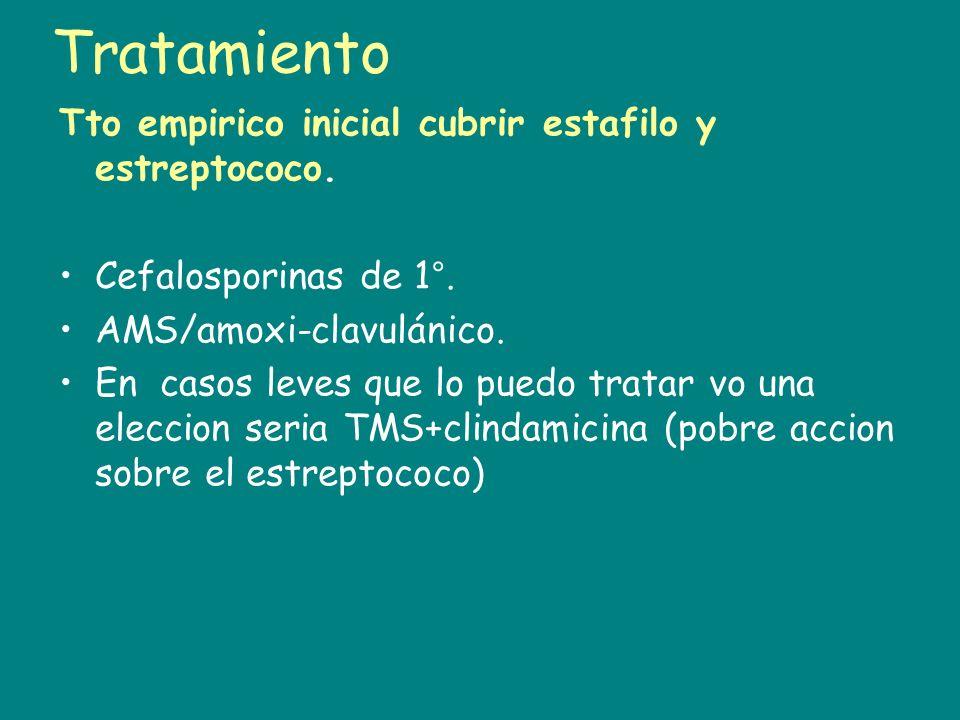 Tratamiento Tto empirico inicial cubrir estafilo y estreptococo.