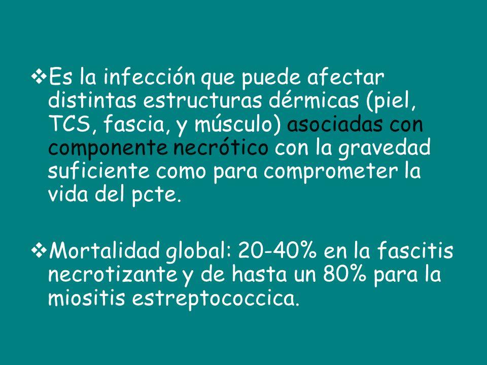 Es la infección que puede afectar distintas estructuras dérmicas (piel, TCS, fascia, y músculo) asociadas con componente necrótico con la gravedad suficiente como para comprometer la vida del pcte.