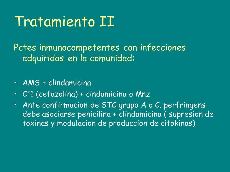 Tratamiento IIPctes inmunocompetentes con infecciones adquiridas en la comunidad: AMS + clindamicina.