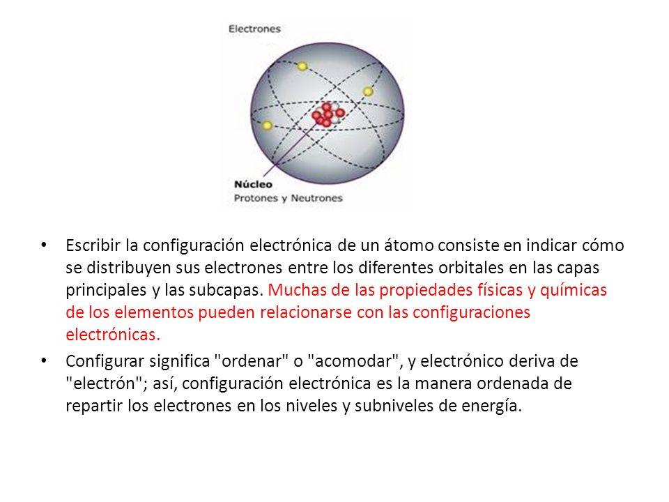 Escribir la configuración electrónica de un átomo consiste en indicar cómo se distribuyen sus electrones entre los diferentes orbitales en las capas principales y las subcapas. Muchas de las propiedades físicas y químicas de los elementos pueden relacionarse con las configuraciones electrónicas.