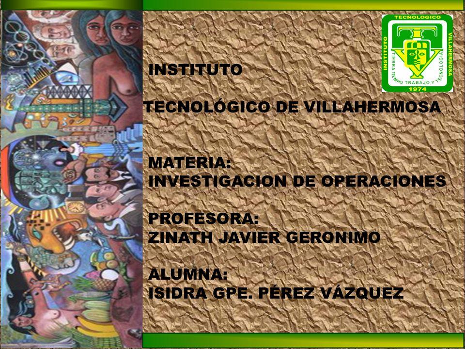 INSTITUTO TECNOLÓGICO DE VILLAHERMOSA. MATERIA: INVESTIGACION DE OPERACIONES. PROFESORA: ZINATH JAVIER GERONIMO.