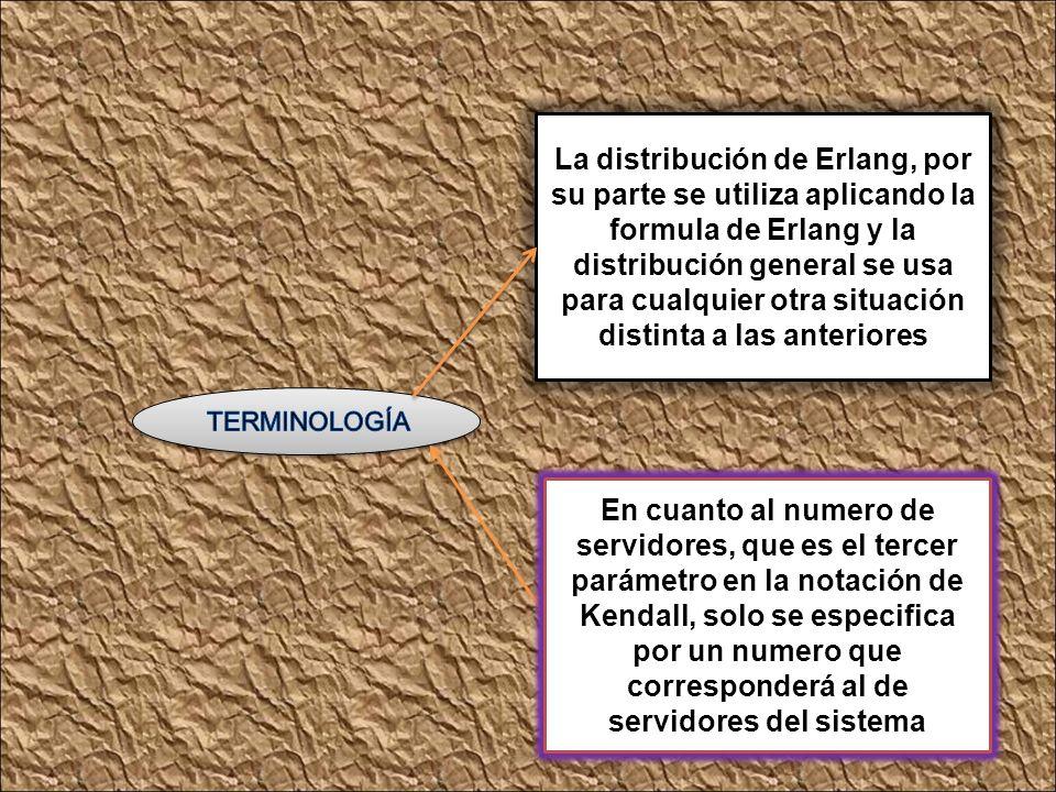 La distribución de Erlang, por su parte se utiliza aplicando la formula de Erlang y la distribución general se usa para cualquier otra situación distinta a las anteriores