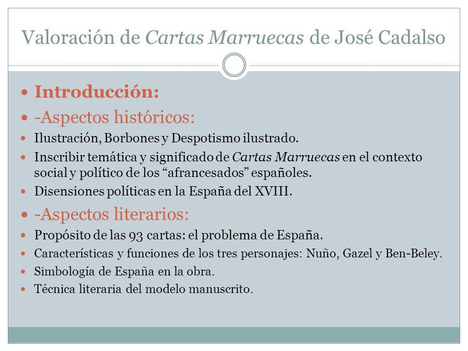 Valoración de Cartas Marruecas de José Cadalso