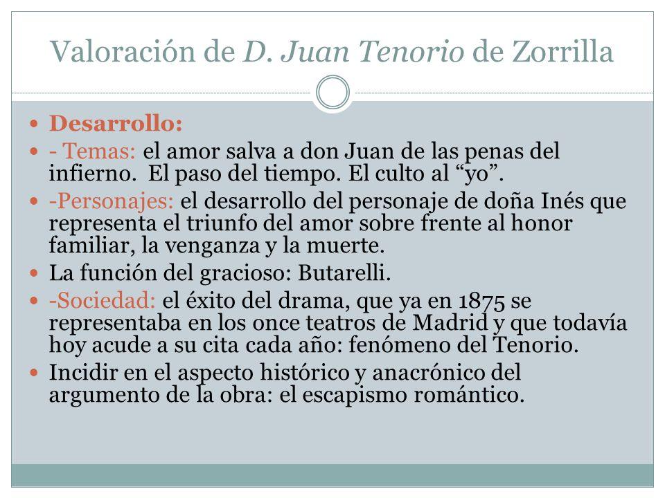 Valoración de D. Juan Tenorio de Zorrilla
