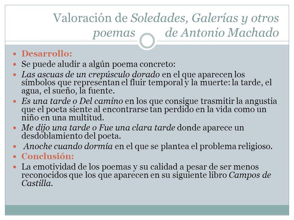 Valoración de Soledades, Galerías y otros poemas de Antonio Machado