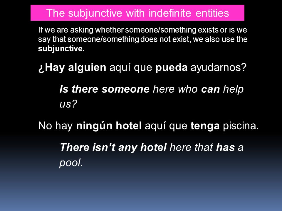 The subjunctive with indefinite entities