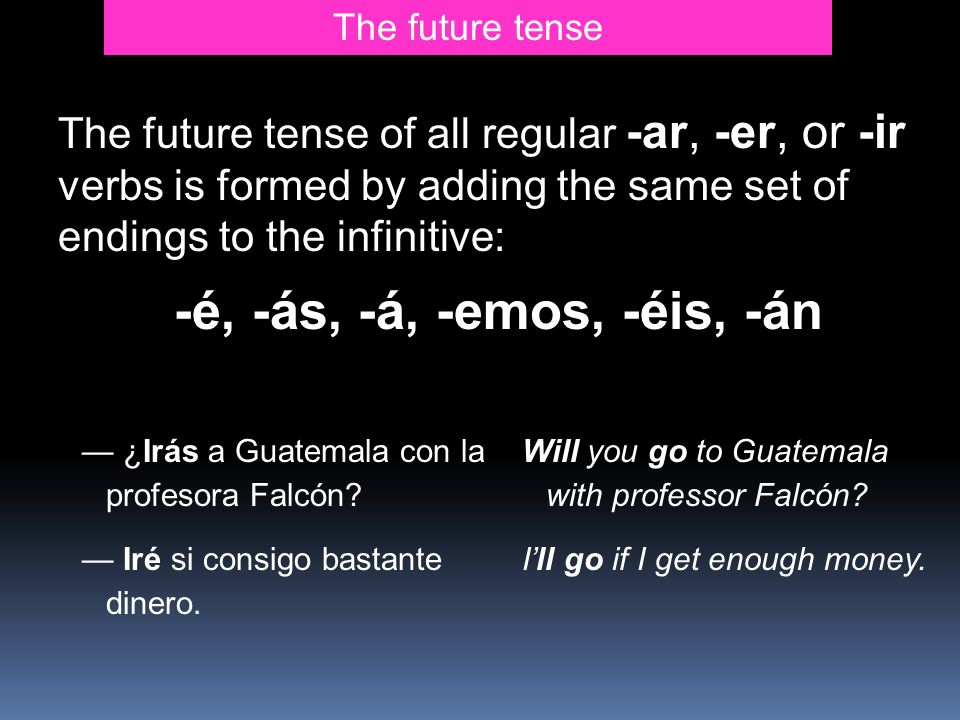 The future tense The future tense of all regular -ar, -er, or -ir verbs is formed by adding the same set of endings to the infinitive: