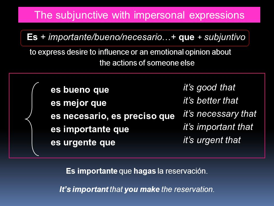 The subjunctive with impersonal expressions