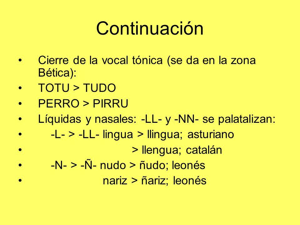 Continuación Cierre de la vocal tónica (se da en la zona Bética):