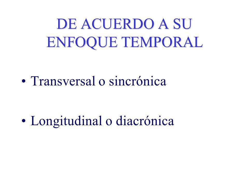 DE ACUERDO A SU ENFOQUE TEMPORAL