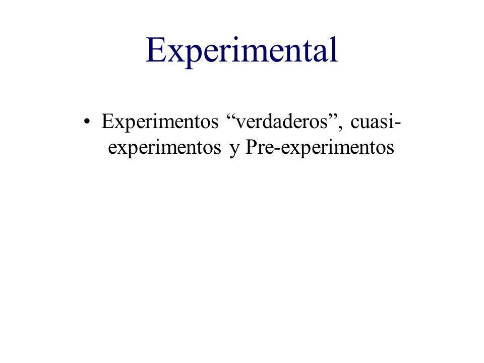 Experimentos verdaderos , cuasi-experimentos y Pre-experimentos