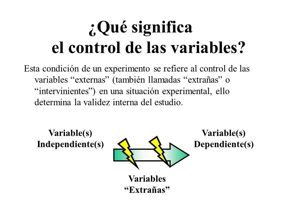 ¿Qué significa el control de las variables