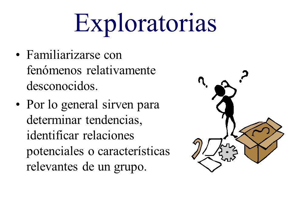 Exploratorias Familiarizarse con fenómenos relativamente desconocidos.