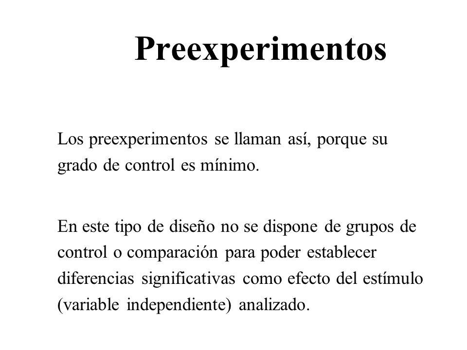 Preexperimentos Los preexperimentos se llaman así, porque su grado de control es mínimo.