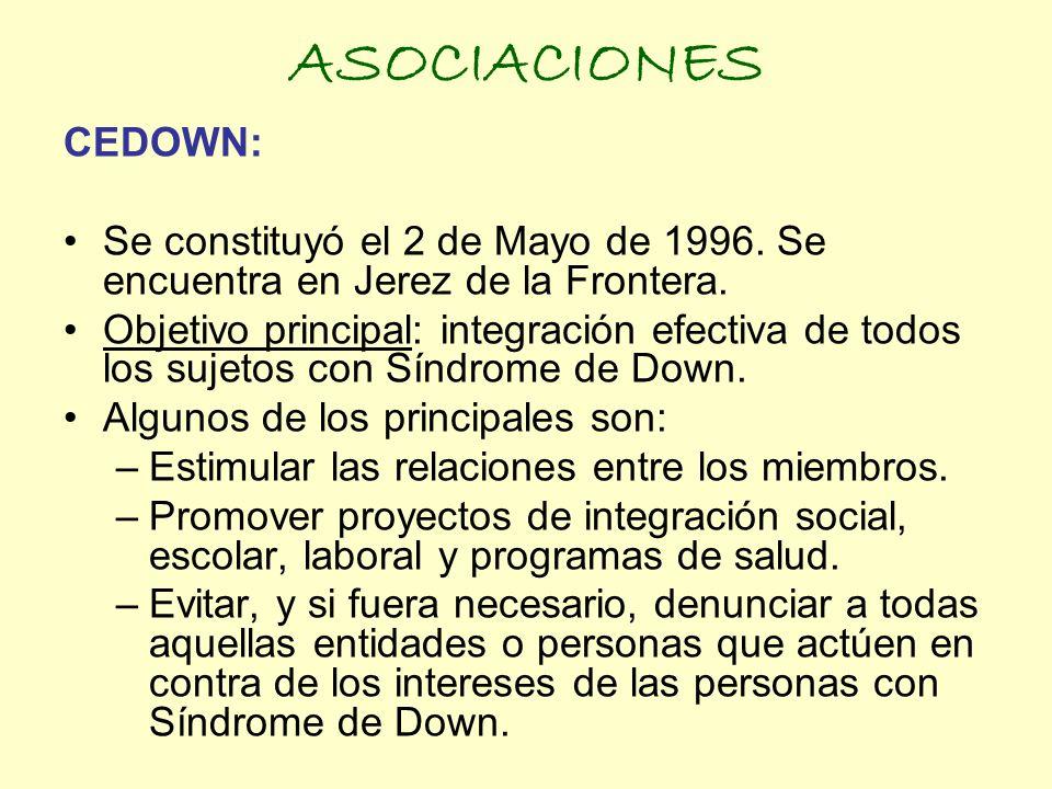ASOCIACIONESCEDOWN: Se constituyó el 2 de Mayo de 1996. Se encuentra en Jerez de la Frontera.