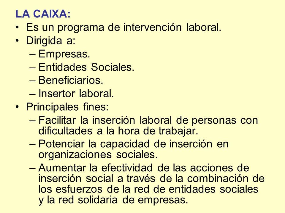 LA CAIXA:Es un programa de intervención laboral. Dirigida a: Empresas. Entidades Sociales. Beneficiarios.