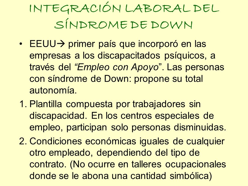 INTEGRACIÓN LABORAL DEL SÍNDROME DE DOWN