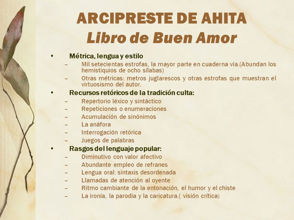 ARCIPRESTE DE AHITA Libro de Buen Amor