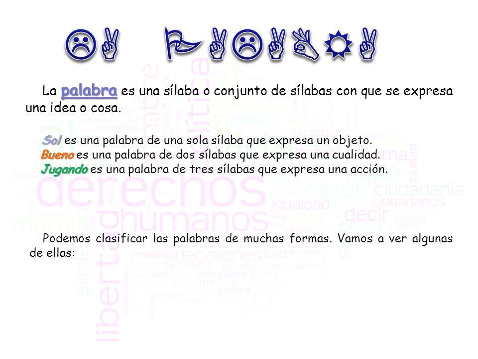 LA PALABRA La palabra es una sílaba o conjunto de sílabas con que se expresa una idea o cosa.