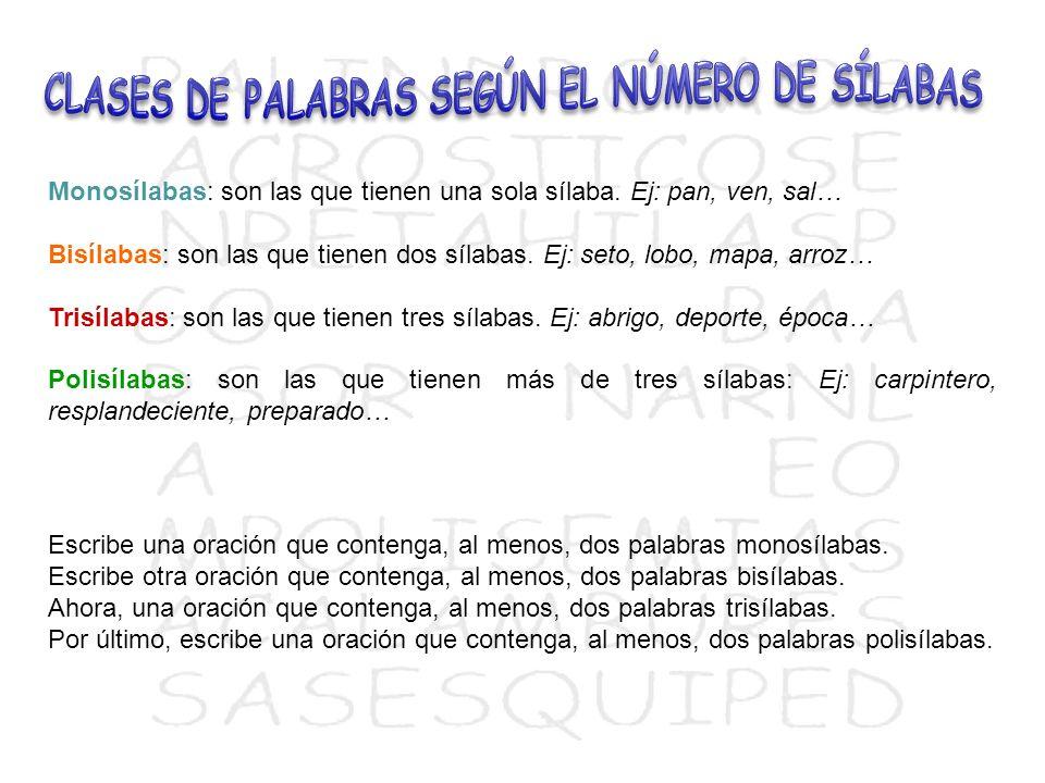 CLASES DE PALABRAS SEGÚN EL NÚMERO DE SÍLABAS