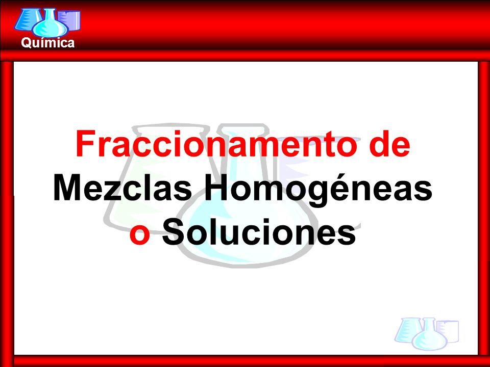 Fraccionamento de Mezclas Homogéneas o Soluciones