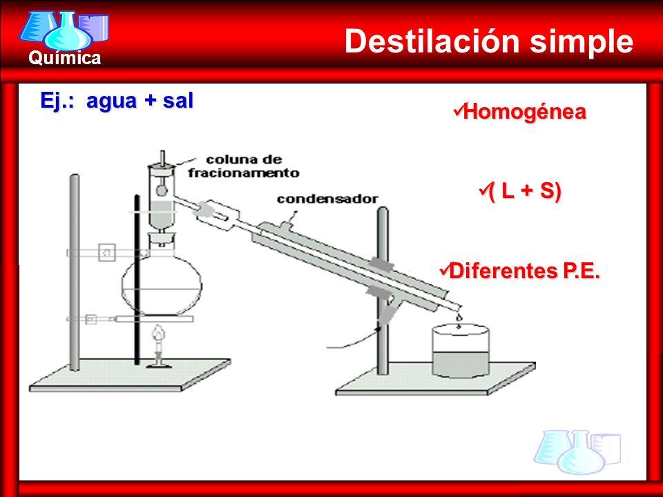 Destilación simple Ej.: agua + sal Homogénea ( L + S) Diferentes P.E.