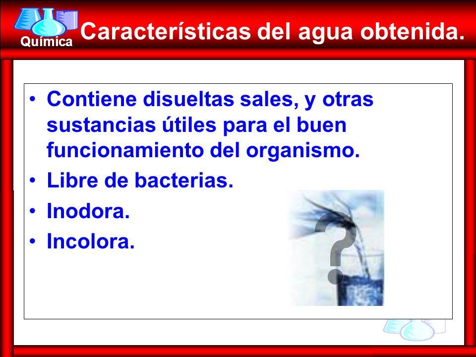 Características del agua obtenida.