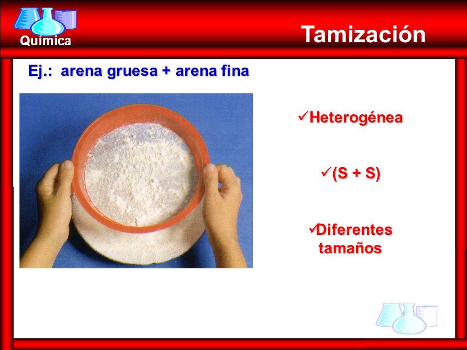 Tamización Ej.: arena gruesa + arena fina Heterogénea (S + S)