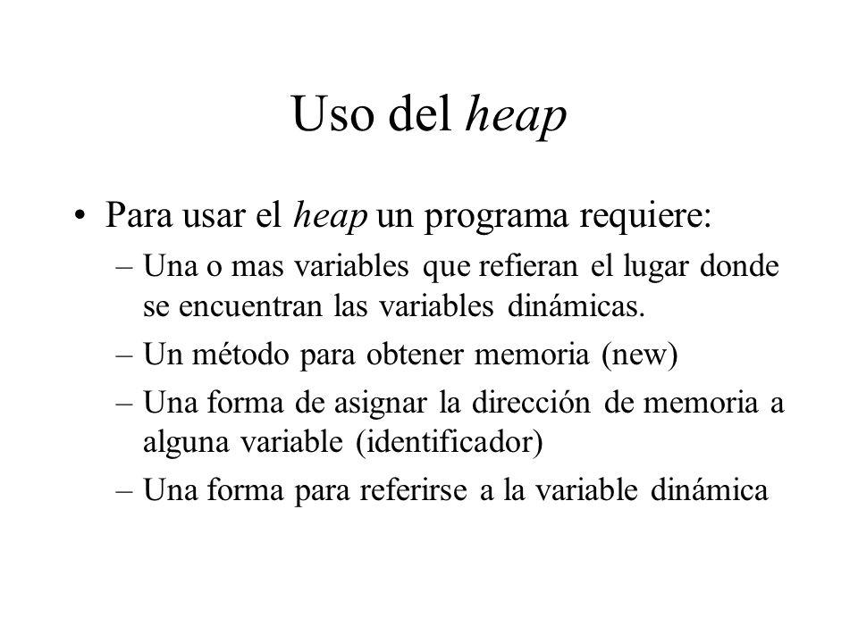 Uso del heap Para usar el heap un programa requiere: