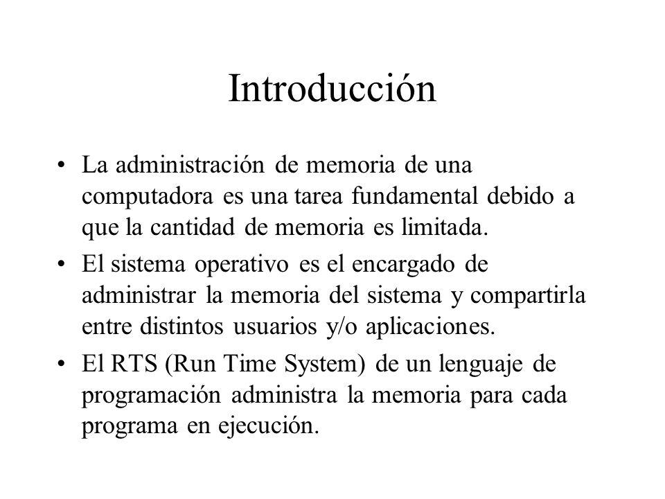 Introducción La administración de memoria de una computadora es una tarea fundamental debido a que la cantidad de memoria es limitada.