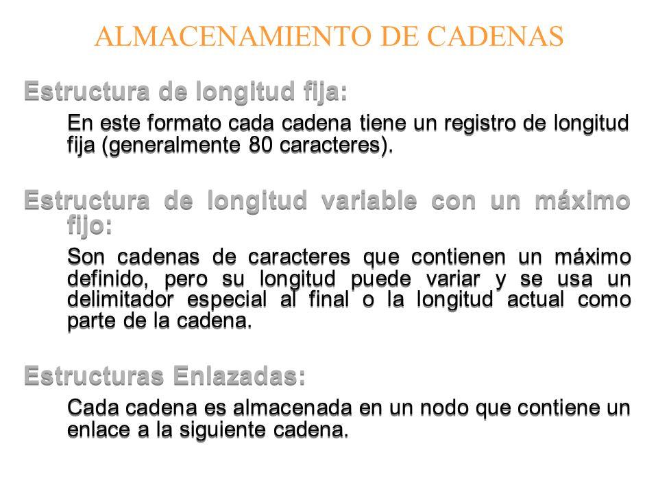 ALMACENAMIENTO DE CADENAS