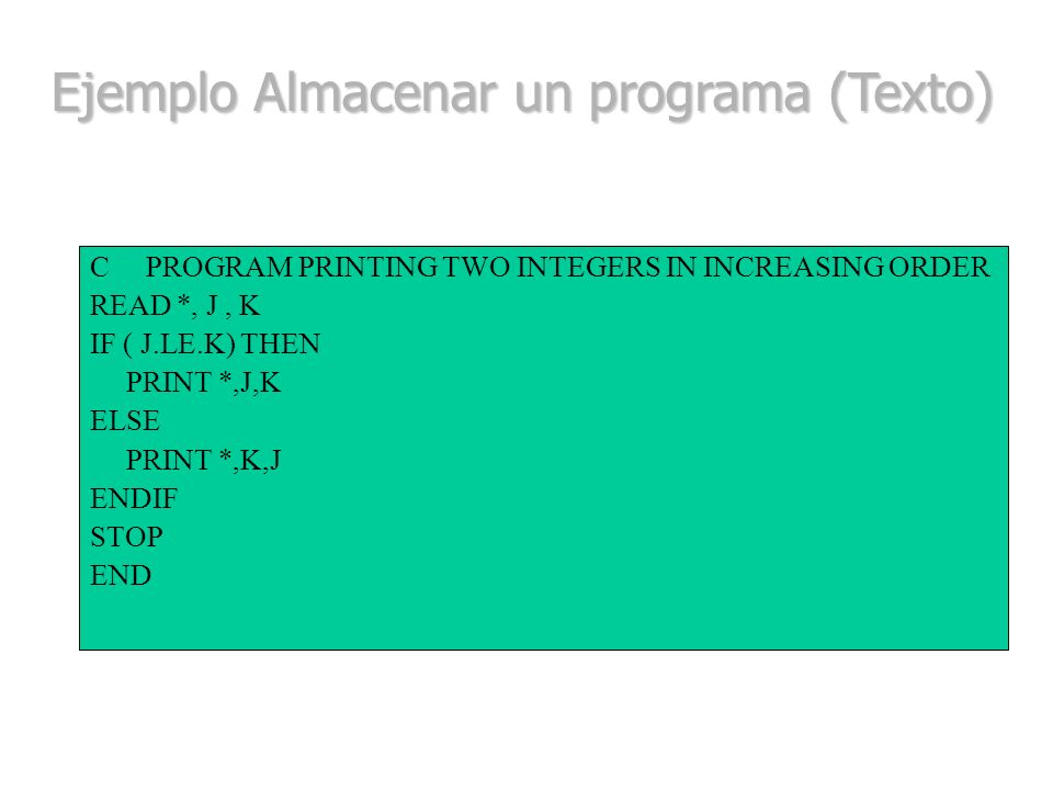 Ejemplo Almacenar un programa (Texto)