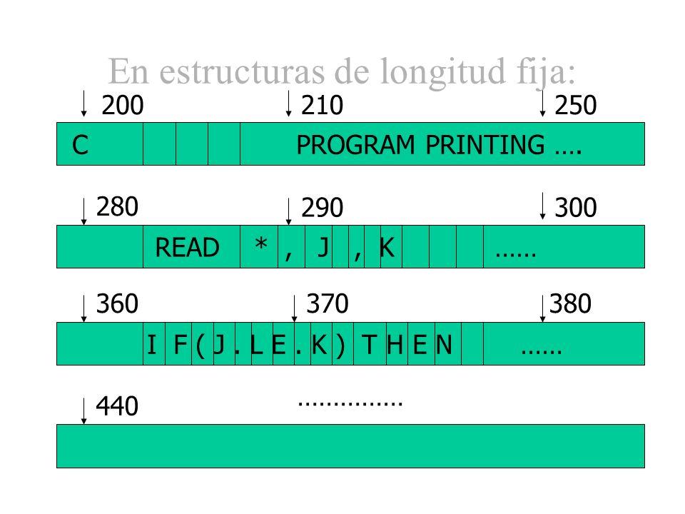 En estructuras de longitud fija: